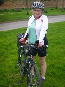 Barbara training for her 1,000 plus miles cycle.